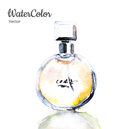 perfumery: Vector hand painting watercolor illustration of glass perfume bottle. Eps10 Illustration