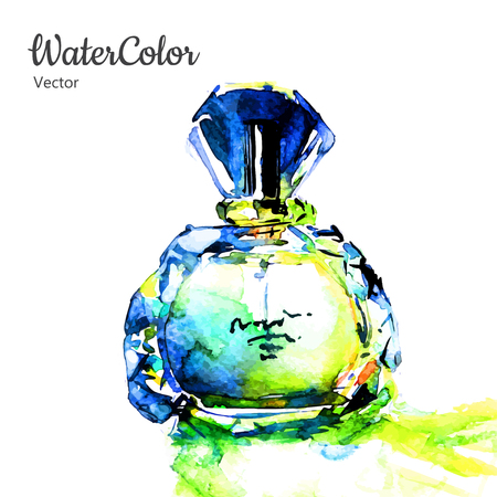 Vector hand painting watercolor illustration of glass perfume bottle. Eps10 Illustration