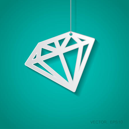 suspended: Vector paper diamond icon suspended from a rope with shadow