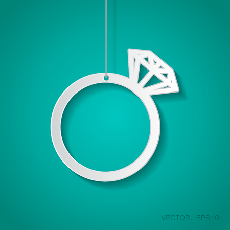 fiance: Vector paper wedding ring icon suspended from a rope with shadow