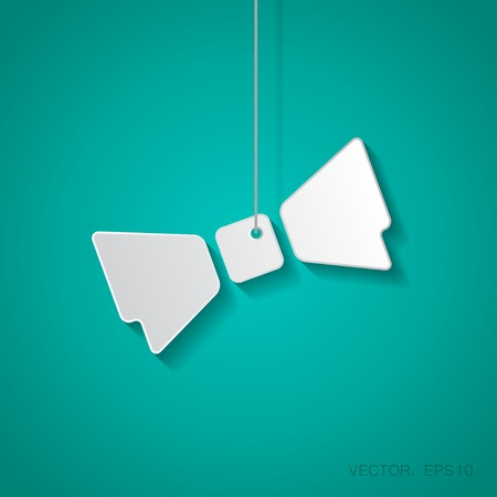 bowtie: Vector paper bow-tie icon suspended from a rope with shadow Illustration