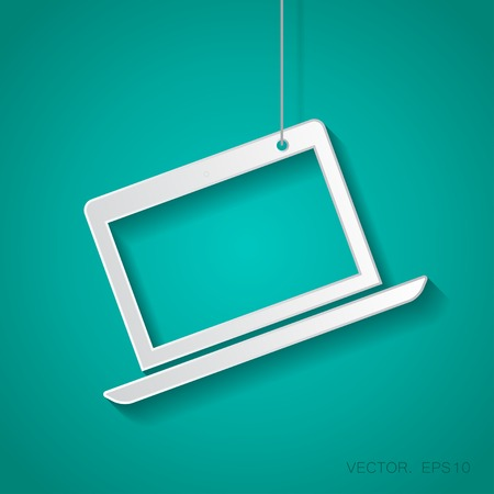 suspended: Vector paper laptop icon suspended from a rope with shadow