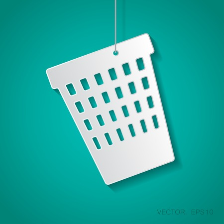 paper basket: Vector paper basket icon suspended from a rope with shadow