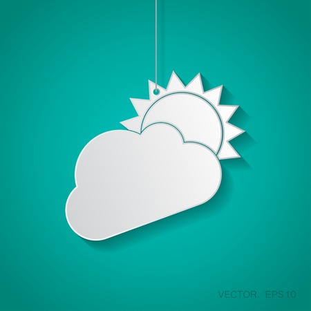 cloudiness: Vector paper cloudiness icon suspended from a rope with shadow Illustration