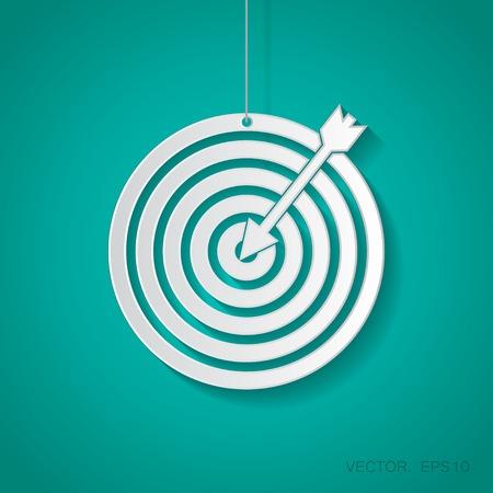 icono deportes: Vector blanco de papel con el icono del dardo suspendido de una cuerda con la sombra
