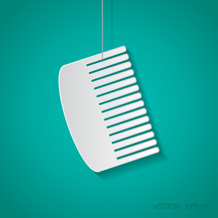 hairbrush: Vector paper hairbrush icon suspended from a rope with shadow Illustration