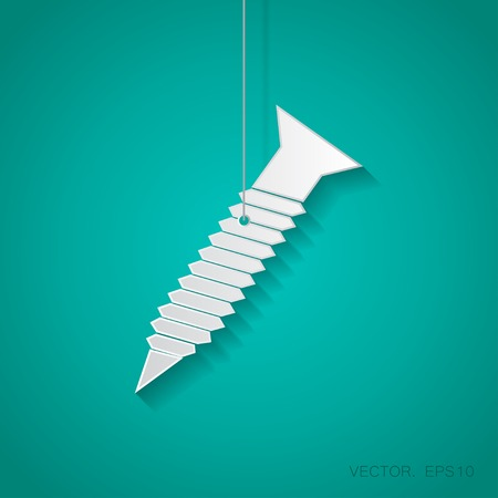 fasteners: Vector paper screw icon suspended from a rope with shadow