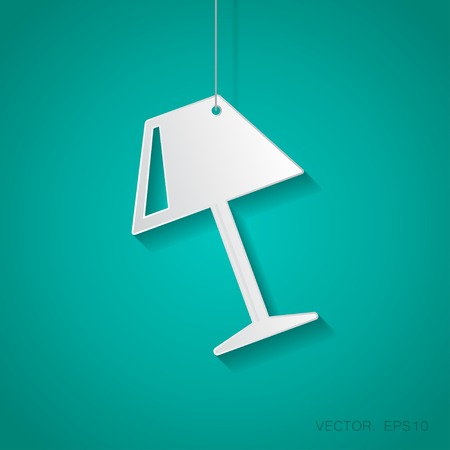 Vector paper reading-lamp icon suspended from a rope with shadow Illustration