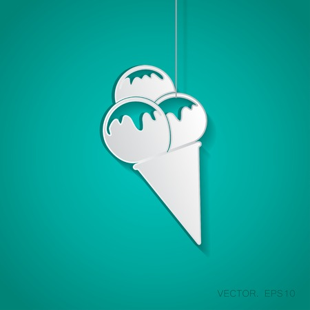 suspended: Vector paper ice-cream icon suspended from a rope with shadow