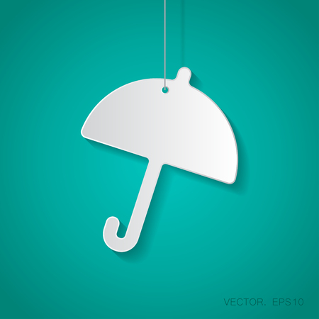 paper umbrella: Vector paper umbrella icon suspended from a rope with shadow Illustration