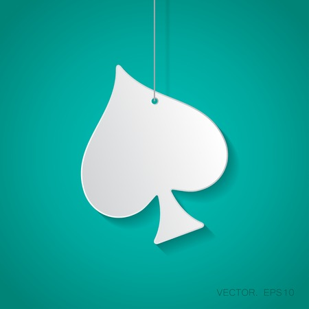 gamblers: Vector paper game spade icon suspended from a rope with shadow Illustration