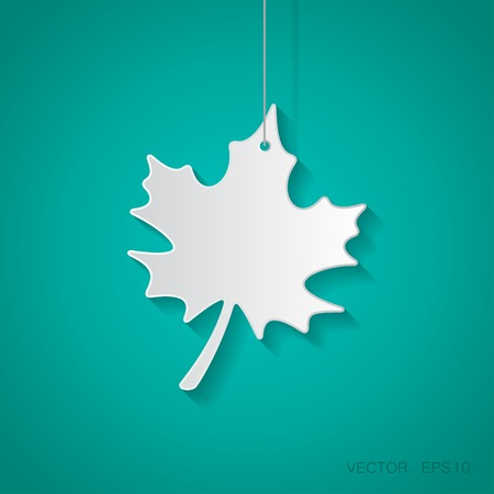 maple leaf icon: Vector paper maple leaf icon suspended from a rope with shadow