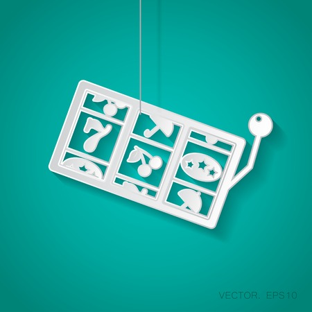 Vector paper slot iconsuspended from a rope with shadow