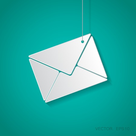 suspended: Vector paper mail icon suspended from a rope with shadow