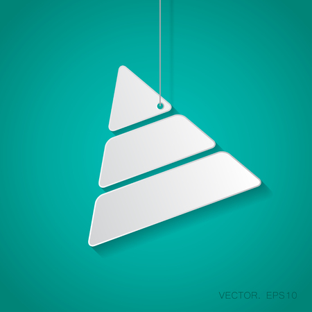 picto: Vector paper pyramid icon suspended from a rope with shadow Illustration