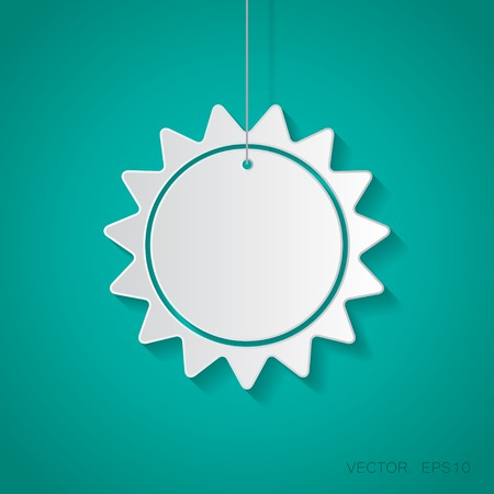 suspended: Vector paper sun icon suspended from a rope with shadow