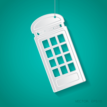 Vector paper telephone box icon suspended from a rope with shadow