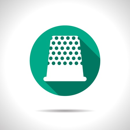 thimble: Vector flat tailor thimble for finger icon on color circle Illustration