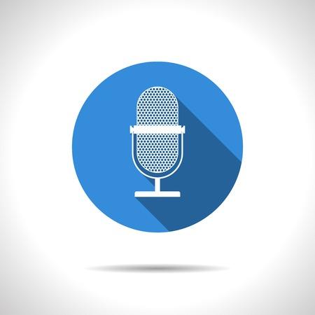 entertaining presentation: Vector flat retro microphone icon on color circle