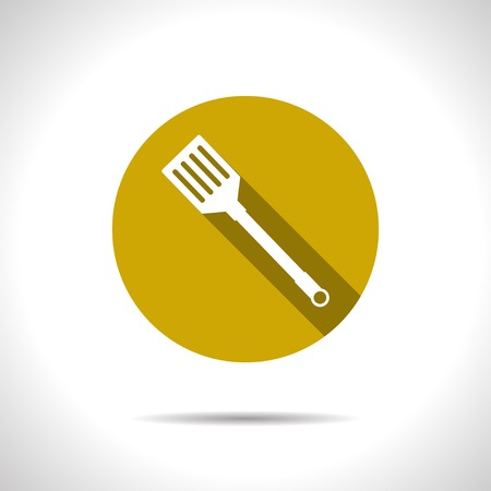 ease: Vector flat kitchen spatula icon on color circle
