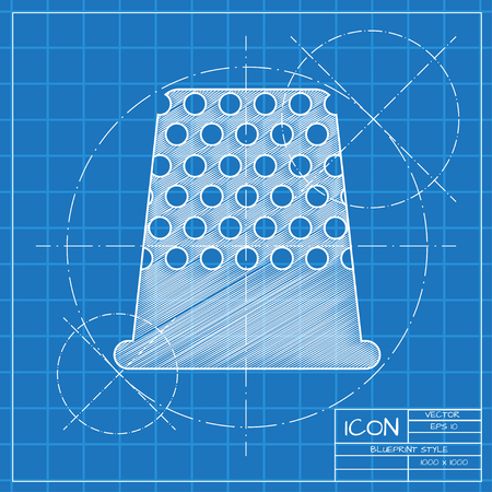 thimble: Vector blueprint tailor thimble for finger icon on engineer or architect background. Illustration