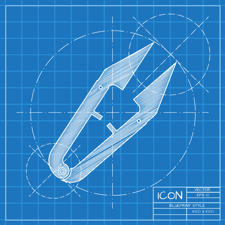 ripper: Vector blueprint tailor seam ripper icon on engineer or architect background.