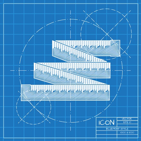 height measure: Vector blueprint tailor ruler icon on engineer or architect background. Illustration
