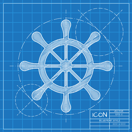 schooner: Vector blueprint steering wheel icon on engineer or architect background. Vettoriali