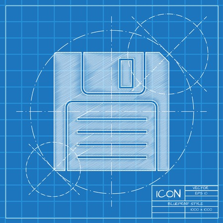 inch: Vector blueprint retro floppy disk icon on engineer or architect background.
