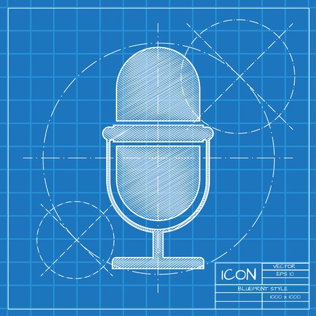 Vector blueprint retro microphone icon on engineer or architect background.
