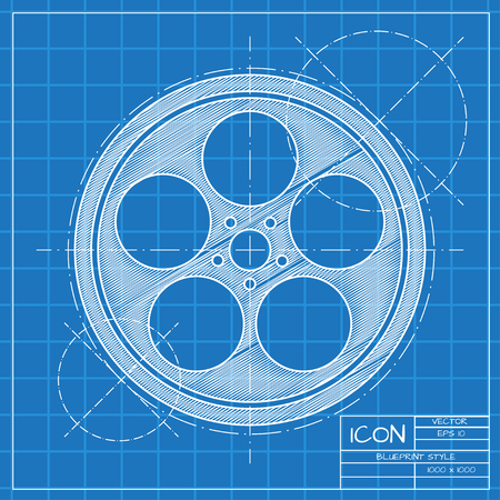 bobbin: Vector blueprint retro bobbin icon on engineer or architect background. Illustration