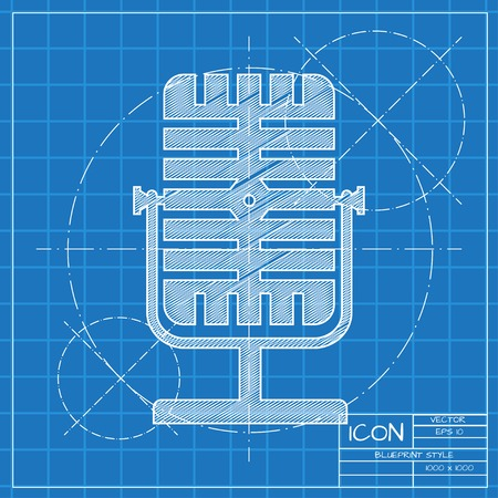 oldie: Vector blueprint retro microphone icon on engineer or architect background.