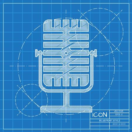 entertaining presentation: Vector blueprint retro microphone icon on engineer or architect background.