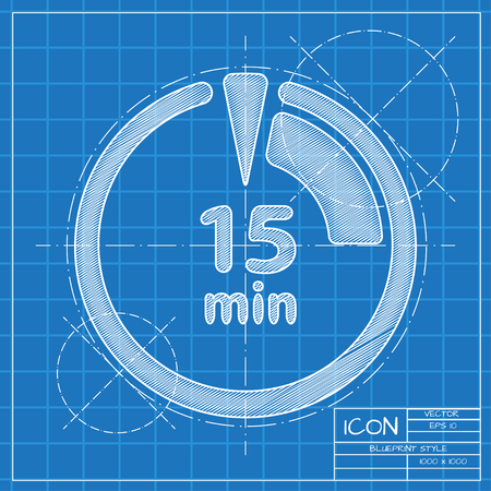 countdown clock: Vector blueprint timer icon on engineer or architect background. Illustration