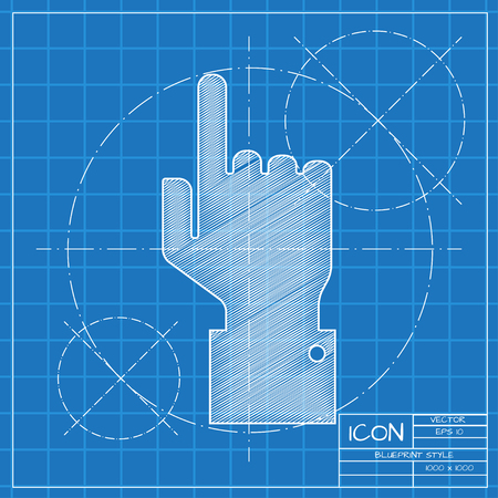 help section: Vetor blueprint hand pointer icon on engineer or architect background. Illustration