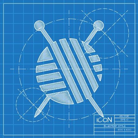 ravel: Vector blueprint tailor ravel ball of yarn for knitting icon on engineer or architect background.