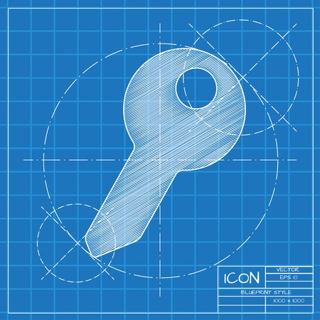 blueprint: Vector blueprint key icon on engineer or architect background. Illustration