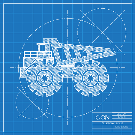 car loader: Vector blueprint heavy machine icon on engineer or architect background.