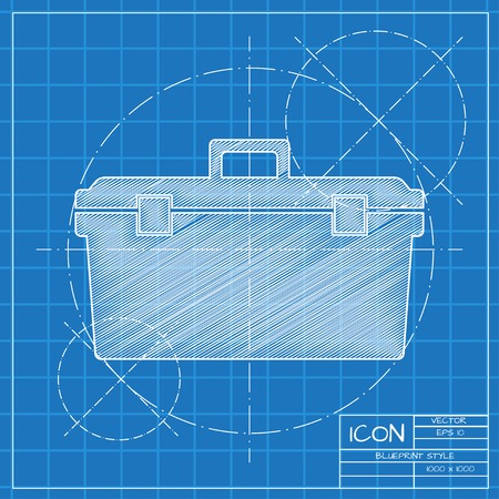 Vector blueprint toolkit icon on engineer or architect background.  . Industrial equipment