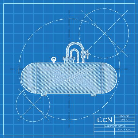 cisterna: icono de la cisterna modelo del vector en el fondo ingeniero o arquitecto. Vectores