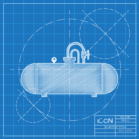 cistern: Vector blueprint cistern icon on engineer or architect background.