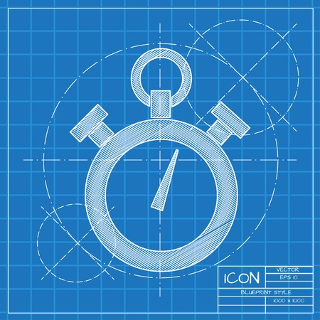 span: Vector blueprint retro stopwatch icon on engineer or architect background.