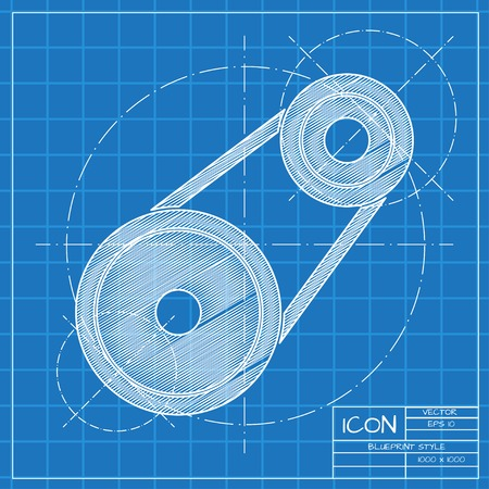 timing belt: Vector blueprint belt drive icon on engineer or architect background.