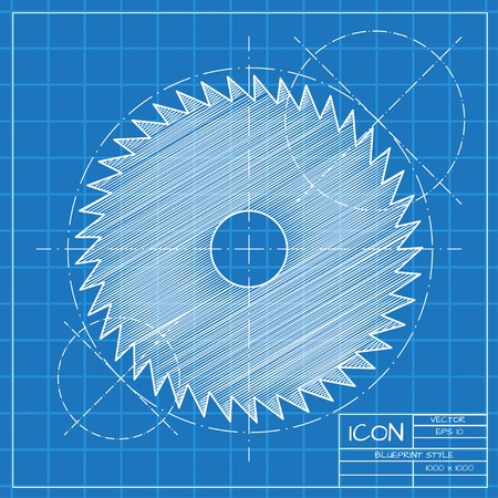 cutoff: Vector blueprint circular saw icon on engineer or architect background.