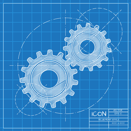 Vector blueprint two cogwheels icon on engineer or architect background. Illustration