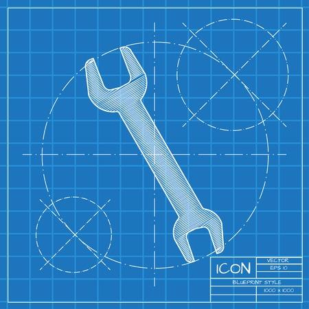 adjustable: Vector blueprint adjustable wrench icon on engineer or architect background. Illustration