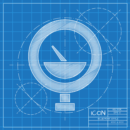 manometer: Vector blueprint manometer icon on engineer or architect background.