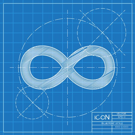 infinity icon: Vector blueprint infinity icon on engineer or architect background.
