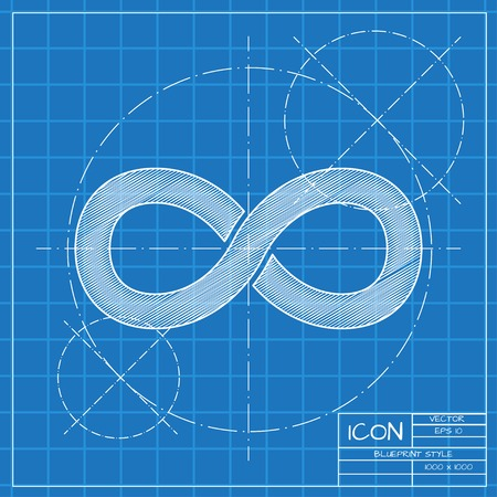 eternally: Vector blueprint infinity icon on engineer or architect background.