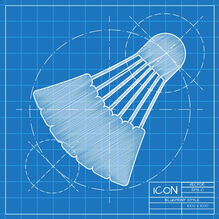 cross match: Vector blueprint simple badminton icon on engineer or architect background.